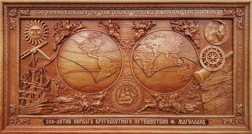 Mapa Magellan z bukového dreva